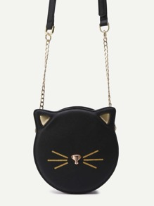 Black PU Round Shaped Zip Closure Crossbody Cat Bag