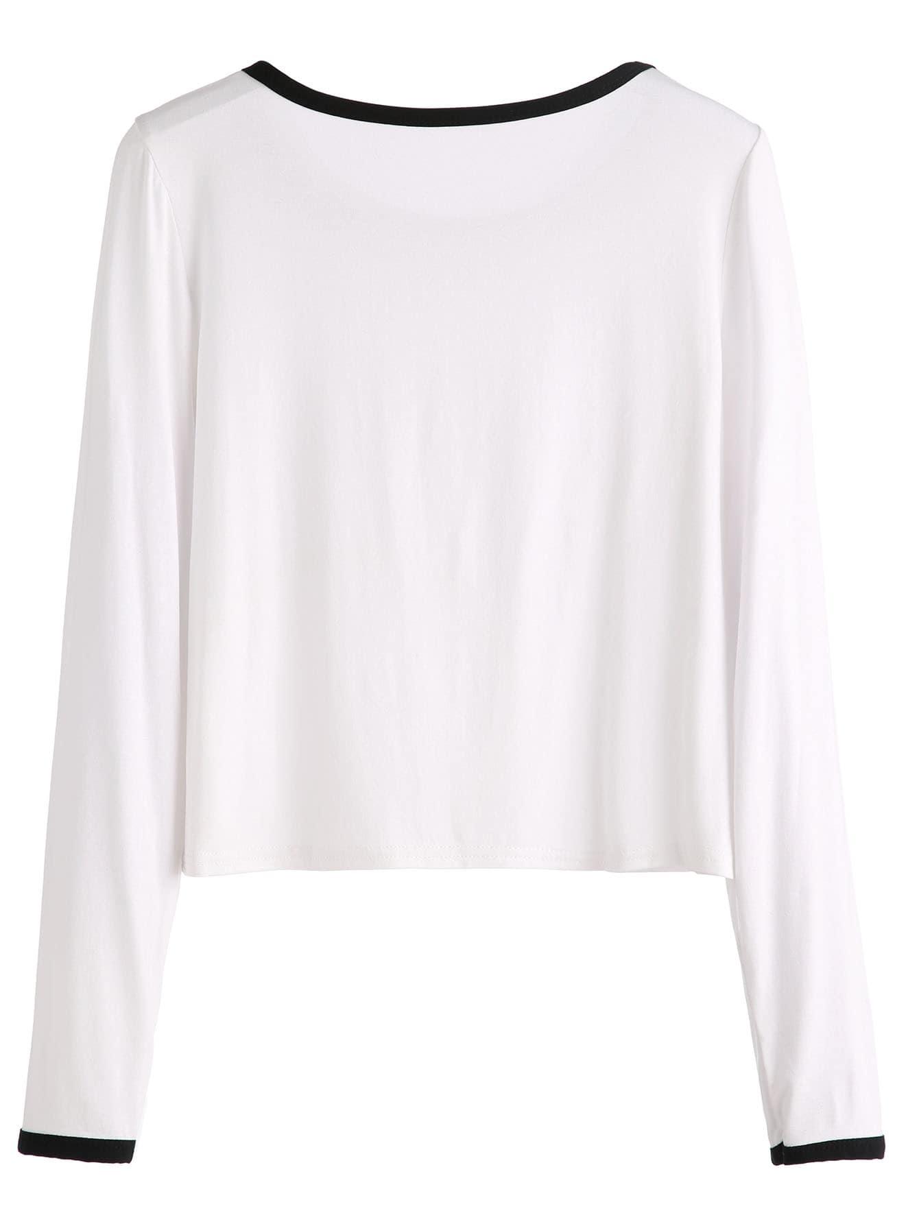 white geo print ringer crop t shirt shein sheinside. Black Bedroom Furniture Sets. Home Design Ideas