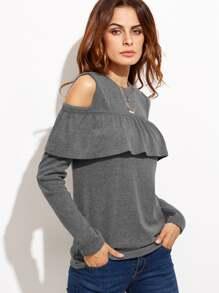 Серый джемпер с воланами с открытыми плечами