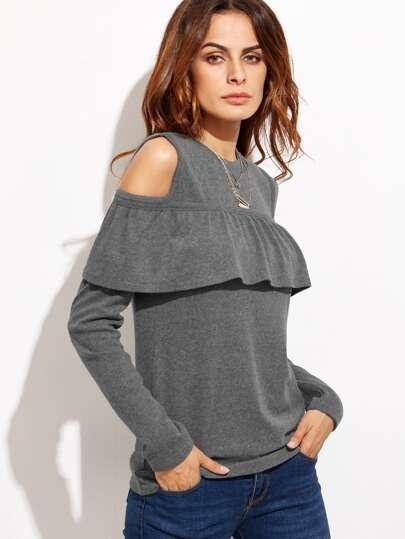 Open Shoulder Flounce Trim T-shirt