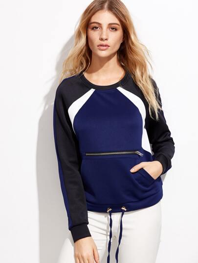 Colorblock Zipper Front Drawstring Sweatshirt