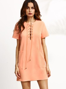 Pink Lace Up Structured Shift Dress With Pockets