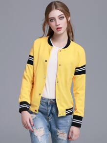 Yellow Striped Hidden Button Front Jacket