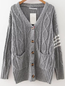 Grey Striped Detail Button Up Cardigan