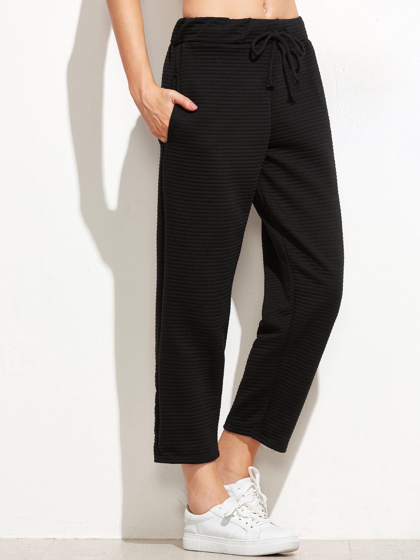 Drawstring Ribbed Black Pants pants160930101