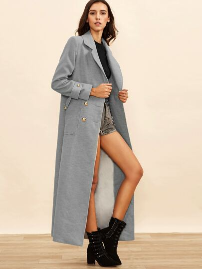 Heather Grey Double Breasted Maxi Coat
