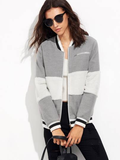 Striped Trim Fluffy Panel Bomber Jacket
