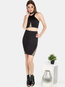 Racer Neck Crop Top and Barred Mini Skirt BLACK