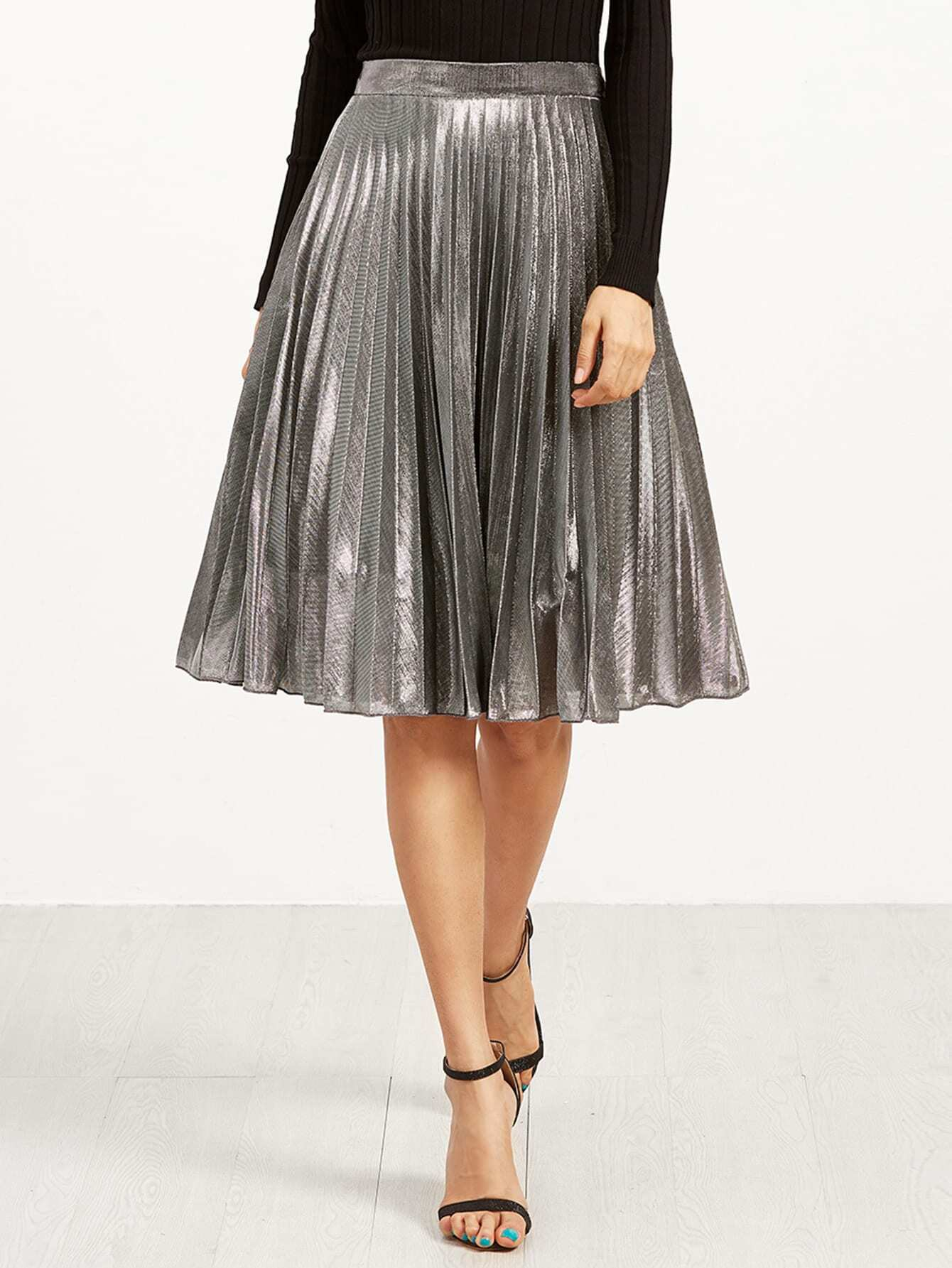 Silver Metal Pleated Skirt -SheIn(Sheinside)