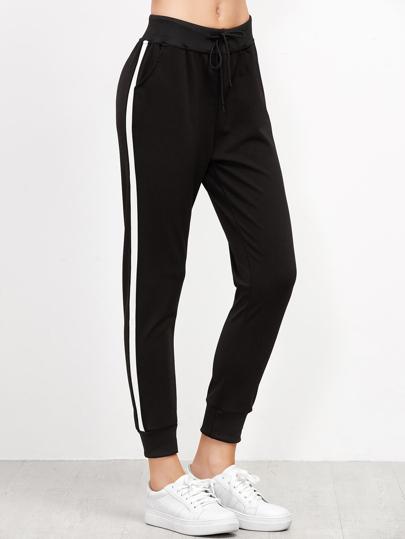 Striped Side Drawstring Pants