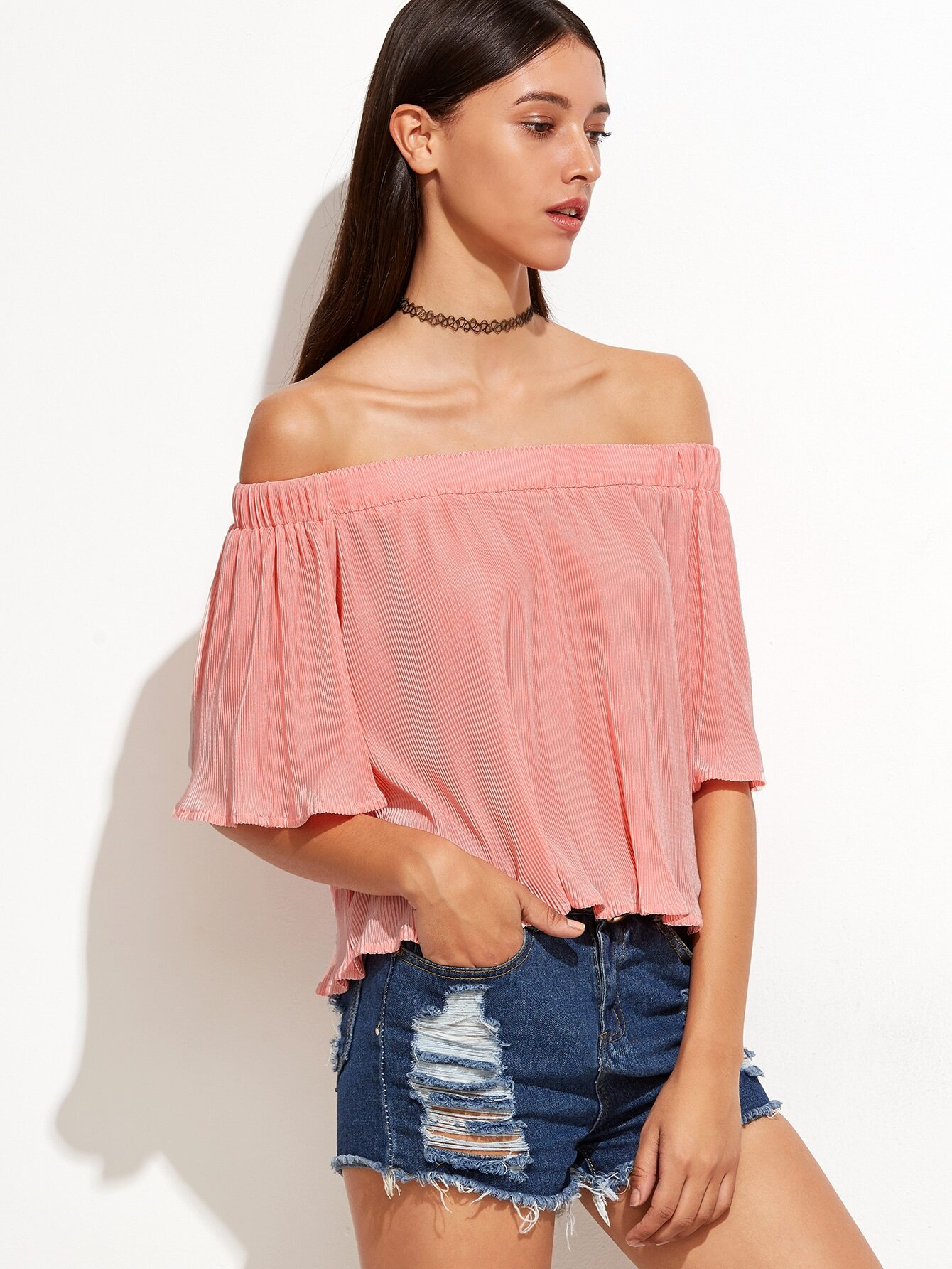 Pink Off The Shoulder Ribbed Top blouse160927704