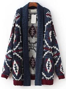 Blue Tribal Print Open Front Sweater Coat