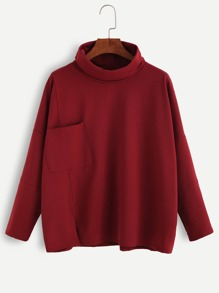 Burgundy Turtleneck Drop Shoulder Pocket T-shirt