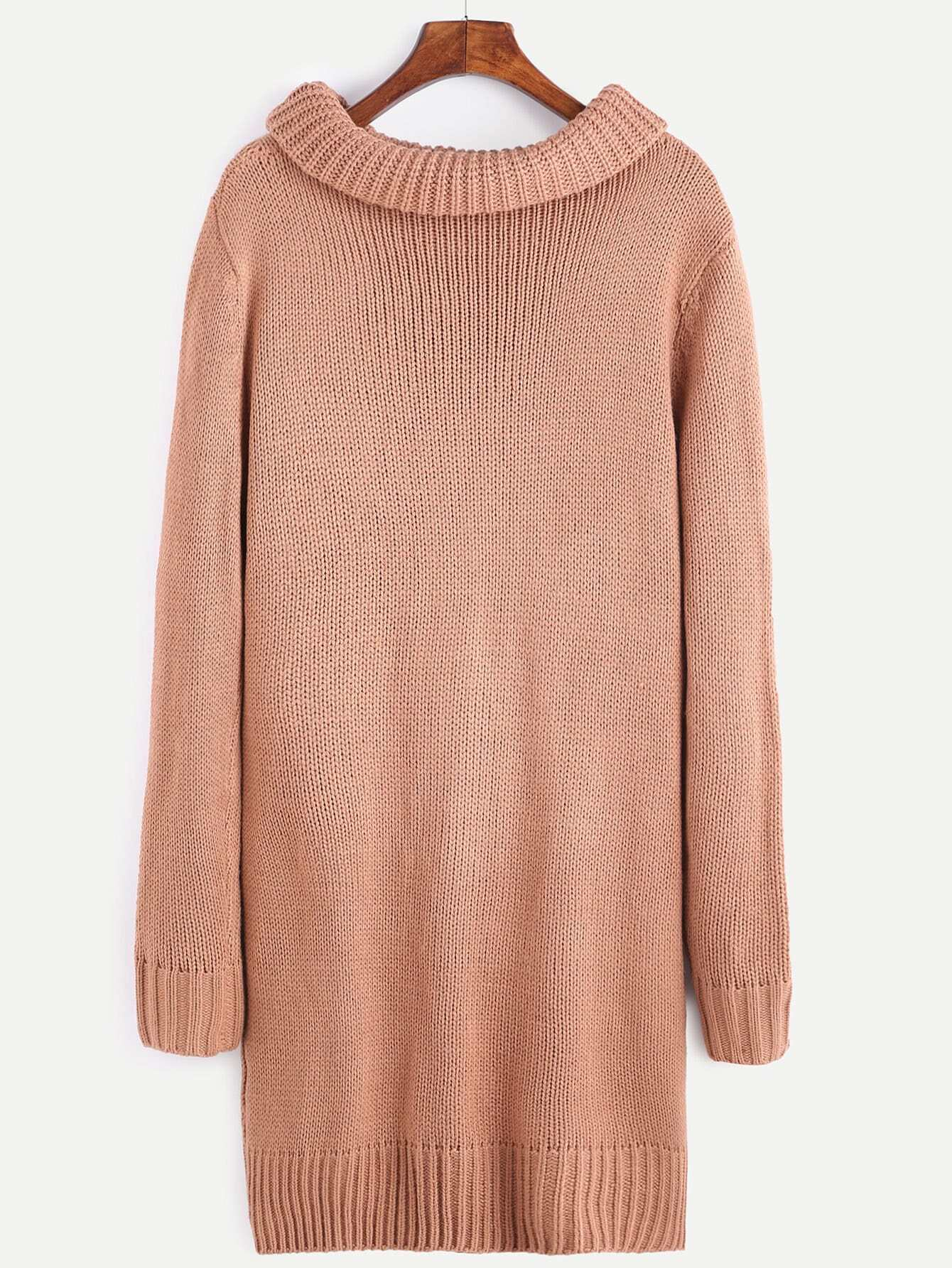 Pink Cable Knit Turtleneck Sweater Dress With Pocket -SheIn(Sheinside)