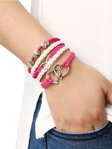 Braided Leather Bracelet With Heart Charm