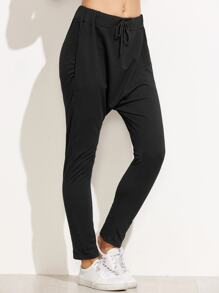 Black Drawstring Waist Harem Pants