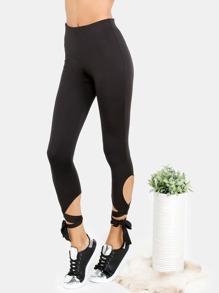 Leggins cortos con cordón anudado - negro