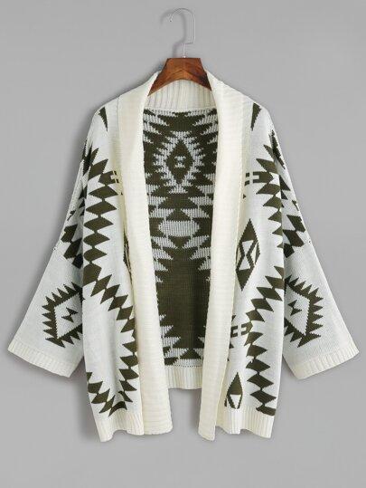 Green Batwing Long Sleeve Geometric Cardigan Sweater