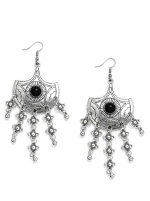 Silver Fan-shaped Lines Gemstone Duster Earrings