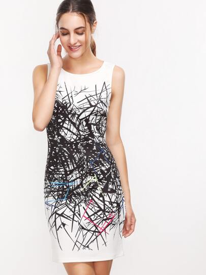 Beige Print Zipper Back Sleeveless Sheath Dress
