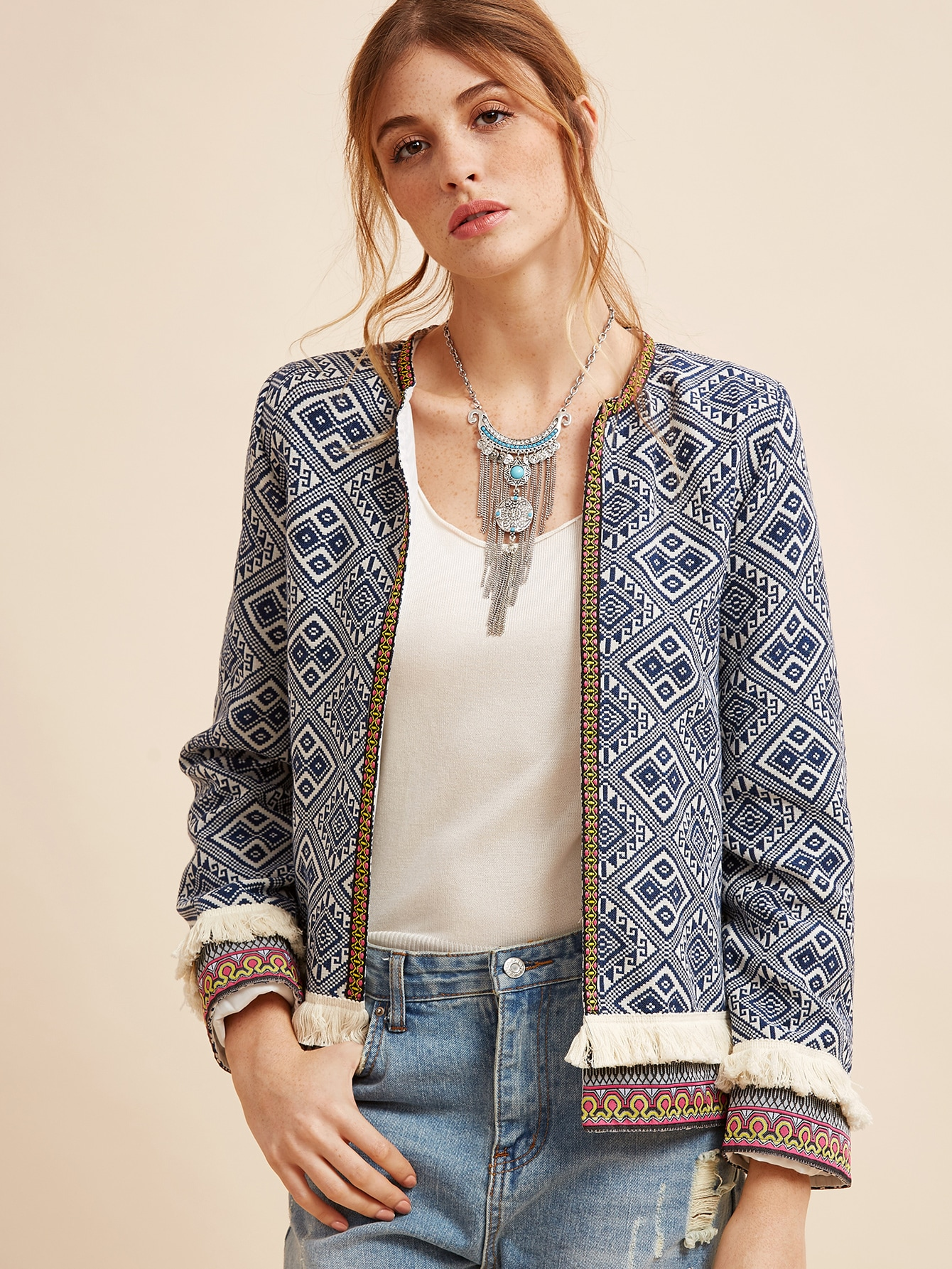 Fringe Trim Tribal Jacket With Embroidered Tape