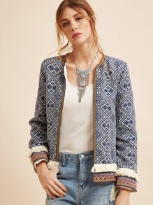 Blue Fringe Trim Tribal Jacket With Embroidered Tape