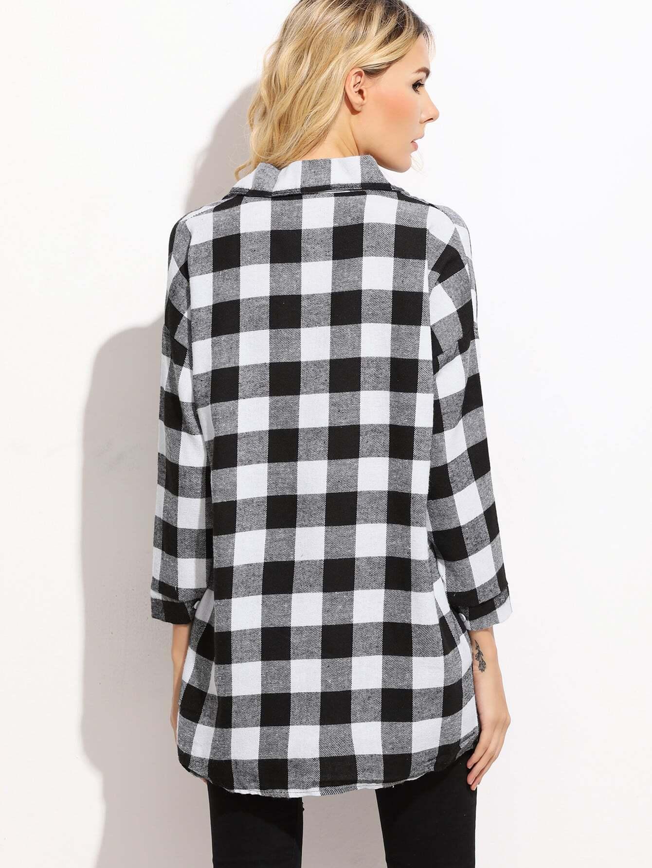 Check Plaid Drop Shoulder Shirt Shein Sheinside