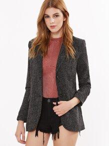 Black Tweed Slim Fit Blazer With Flap Pocket