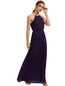 Purple Sleeveless Halterneck Pleated Infinity Maxi Dress