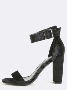 Crushed Velvet Chunky Heels BLACK