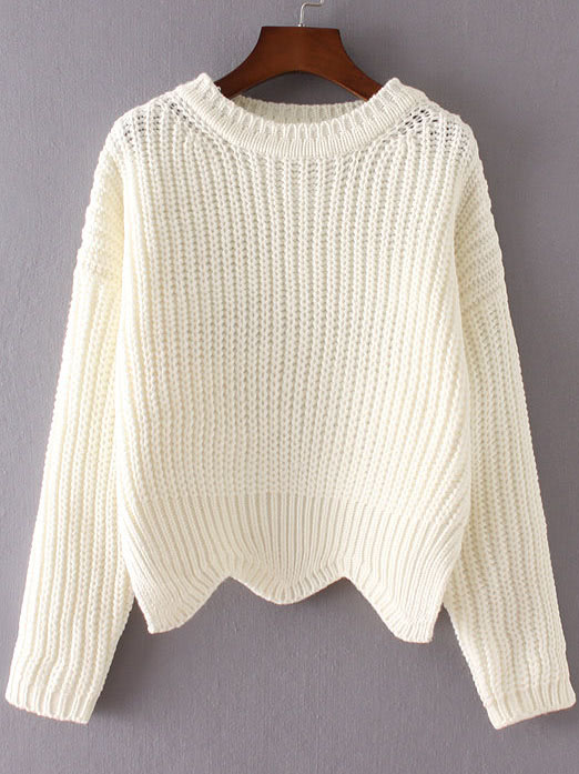 White Ribbed Trim Drop Shoulder Asymmetrical Hem Knitwear sweater160905217