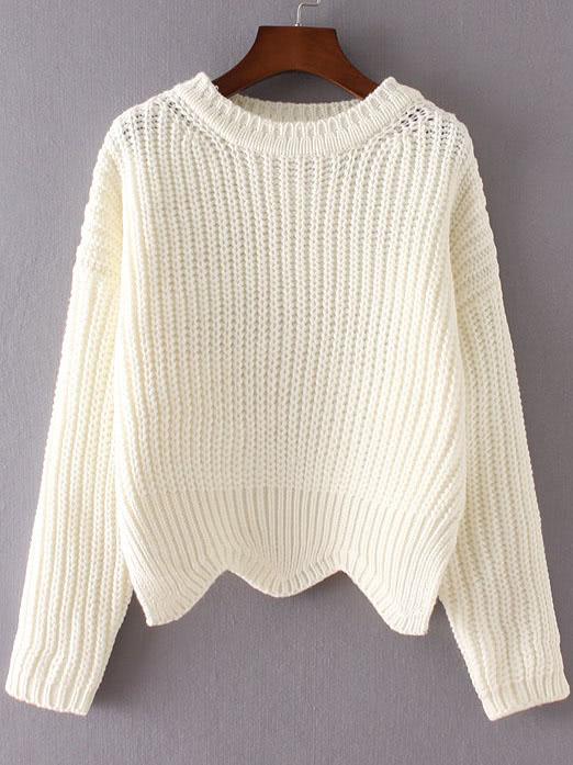 White Ribbed Trim Drop Shoulder Asymmetrical Hem Knitwear sweater160905217