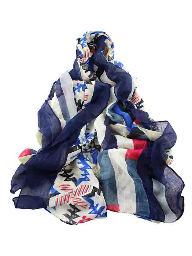 Фото Navyblue Autumn Style Printed Long Cotton Scarf For Ladies. Купить с доставкой