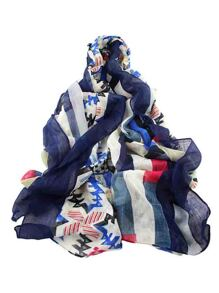 Navyblue Autumn Style Printed Long Cotton Scarf For Ladies