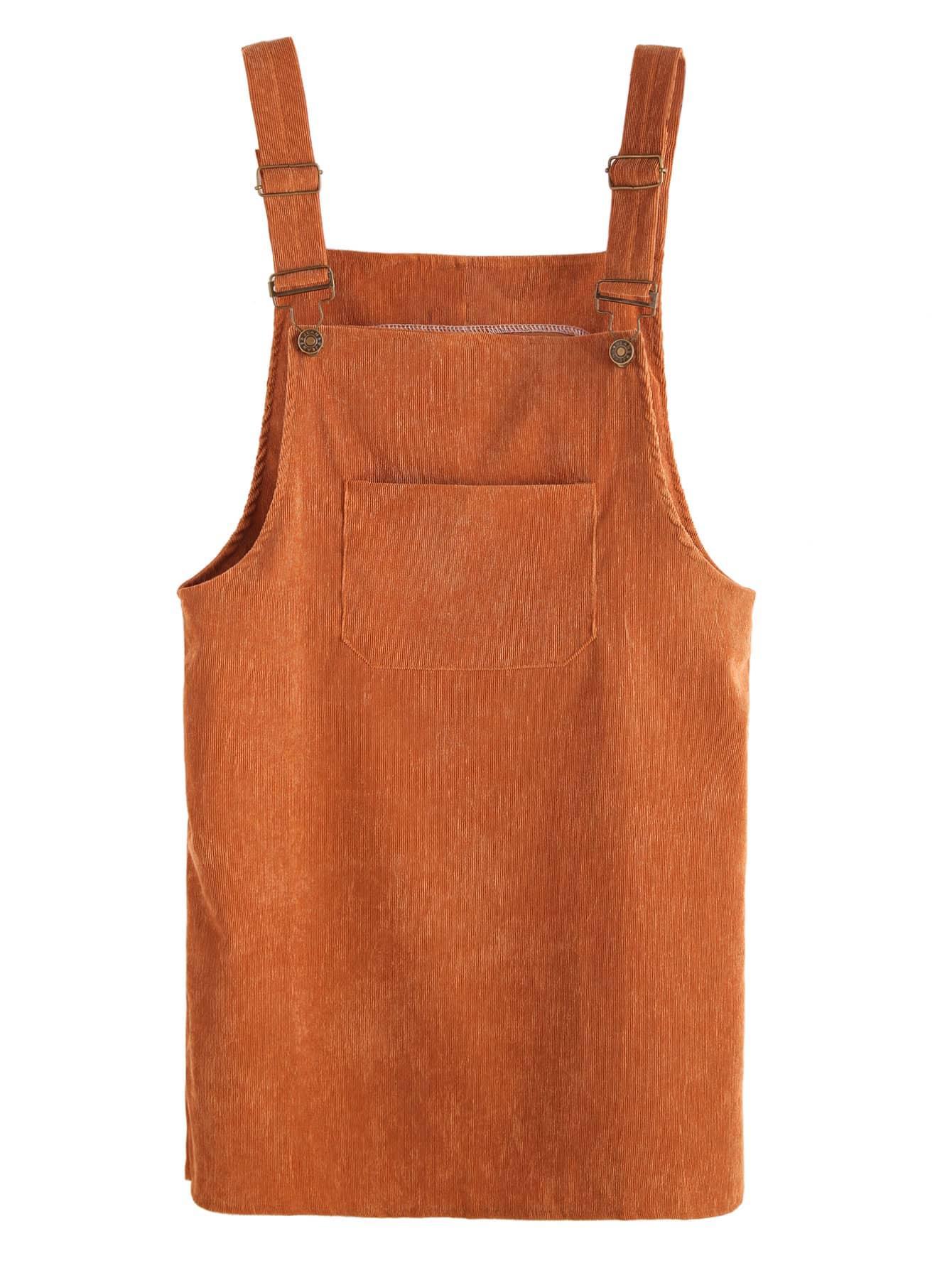 Khaki Corduroy Overall Dress With Pocket dress160916106