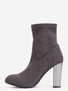 Grey Point Toe High Heels Short Boots