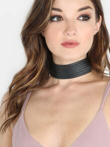 Stacked Faux Leather Choker BLACK