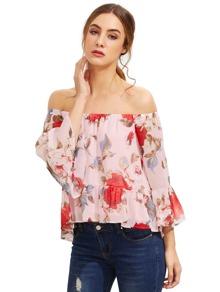 Pink Floral Off The Shoulder Blouse