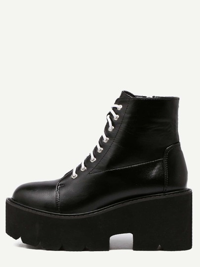 Black PU Lace Up Side Zipper Platform Ankle Boots