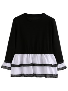 Black White Lace Contrast Peplum T-shirt