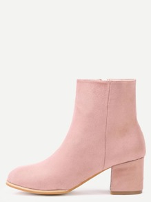Pink Suede Side Zipper Chunky Heel Short Boots