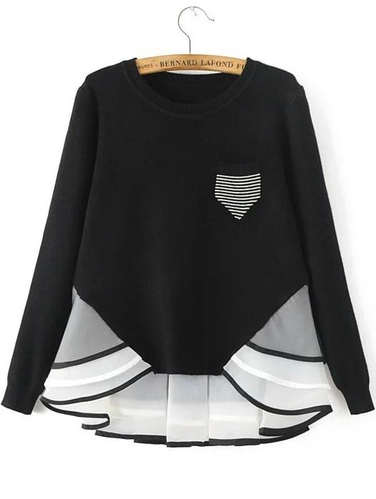 Black Striped Contrast Hem Pocket Knitwear sweater160915201