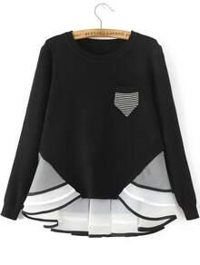 Pull à rayure contrasté avec poche - noir