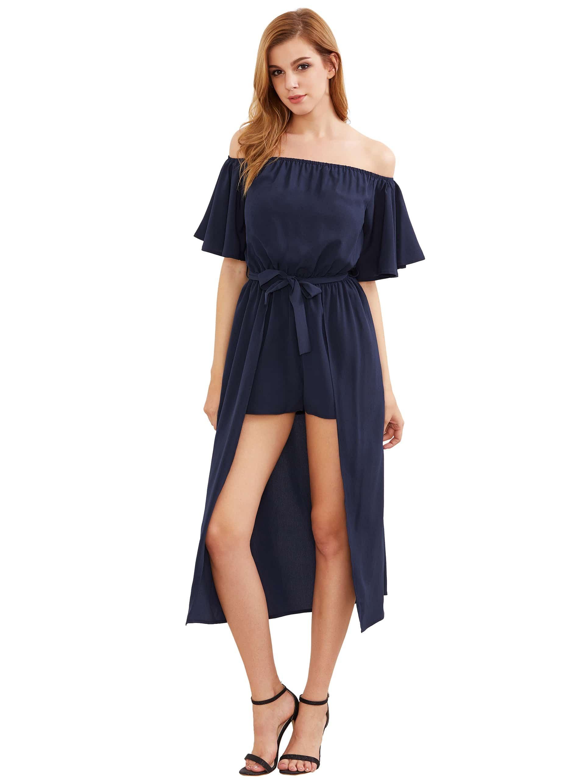 Фото Flounce Bardot Self Tie Playsuit With Skirt Overlay. Купить с доставкой