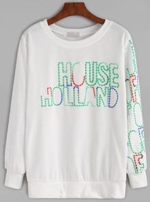 White Letter Print Sweatshirt