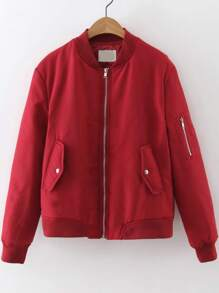 Red Quilted Flight Jacket With Zipper