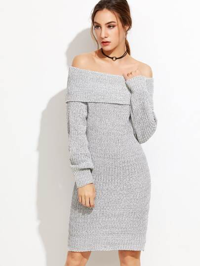 Grey Off The Shoulder Foldover Sweater Dress -SheIn(Sheinside)