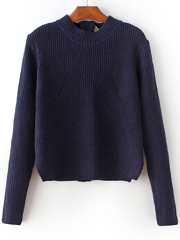 Navy Zipper Detail Convertible SweaterNavy Zipper Detail Convertible Sweater<br><br>color: Navy blue<br>size: one-size