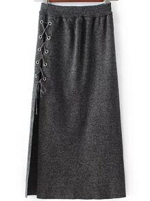 Grey Eyelet Lace Up High Split Side Skirt