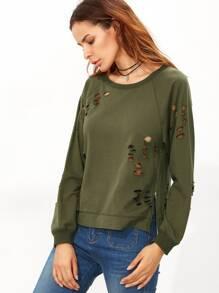 Raglan Sleeve Hollow Out Zipper Sweatshirt